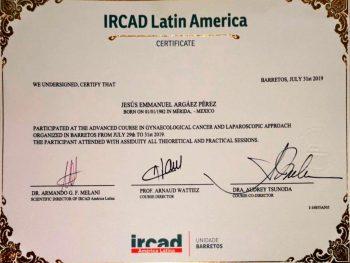 Certificado Curso Avanzado de Cáncer Ginecológico y Laparoscópico