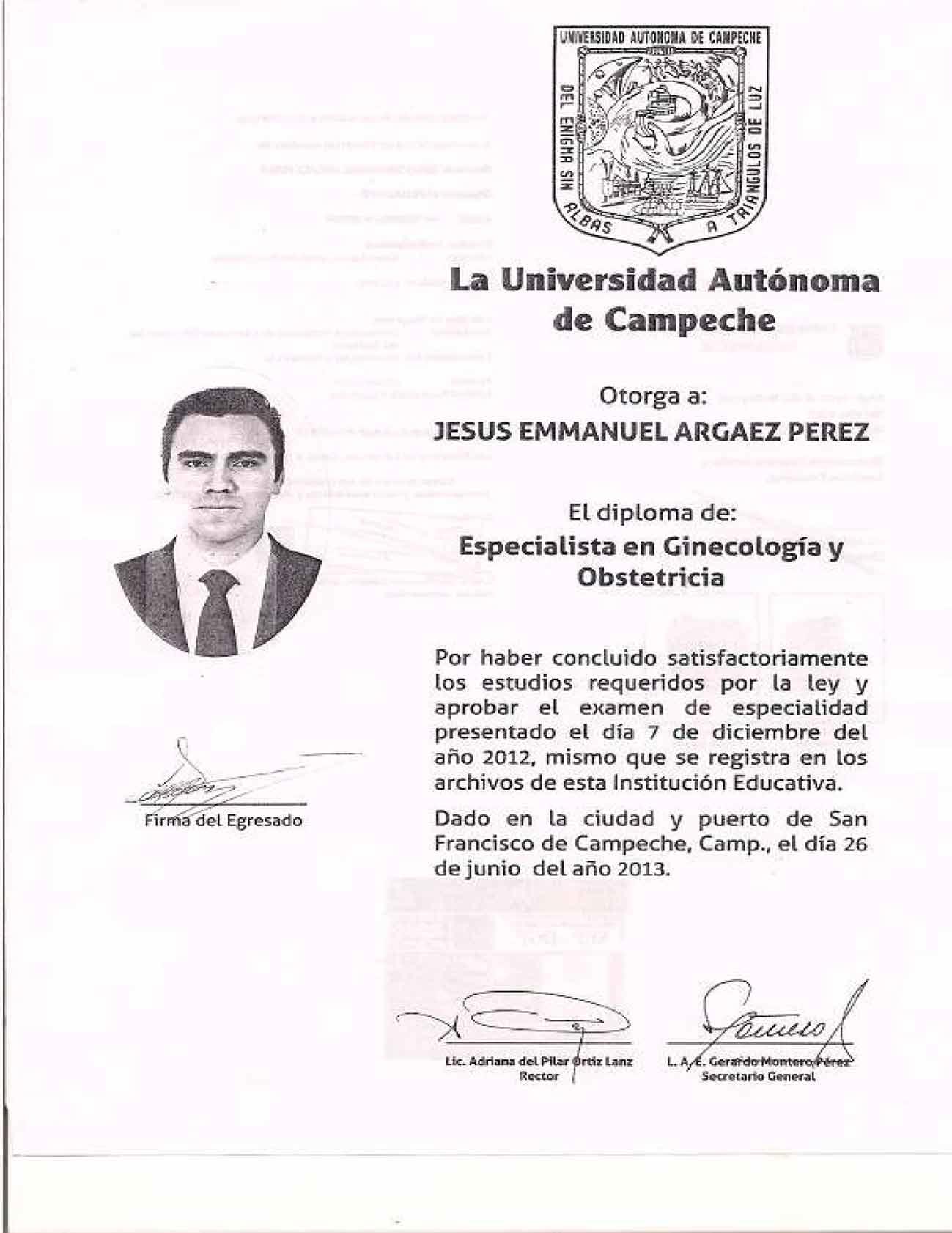 Diploma de Especialista en Ginecología y Obstetricia