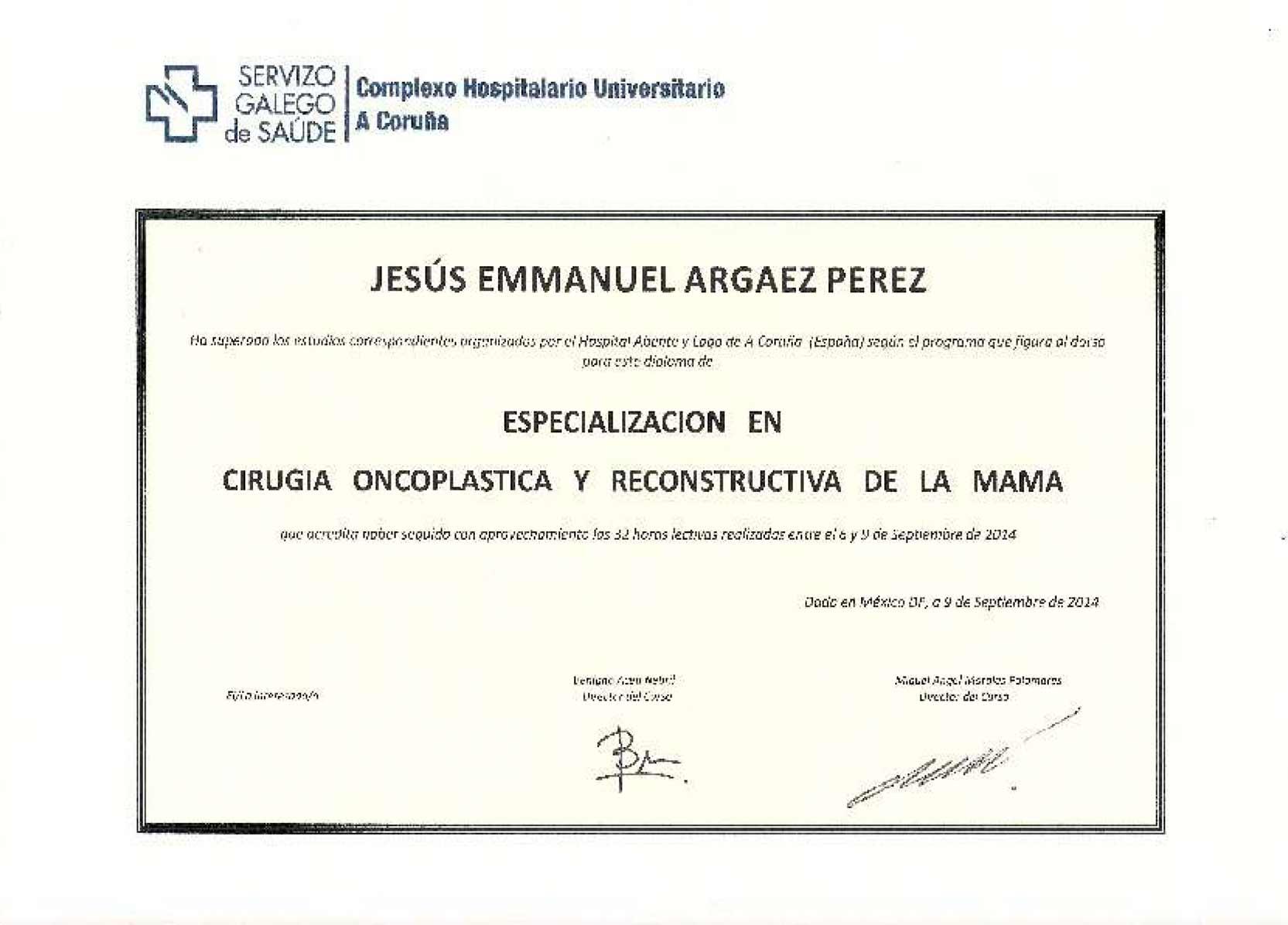 Especialización en Cirugía Oncoplastica y Reconstructiva de la Mama